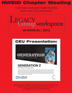 **Re-Scheduled for Feb 26th***NWSID Chapter Meeting at Legacy Group @  Legacy Group Workspace | Seattle | Washington | United States