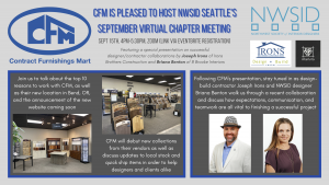 NWSID Virtual Chapter Meeting Hosted by CFM with Special Presentation @ Contract Furnishings Mart - Via Zoom