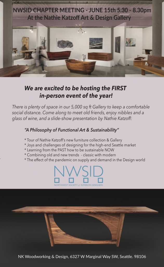 NWSID June Chapter Meeting Hosted at NK Woodworking & Design Gallery @ Nathie Katzoff Art & Design Gallery