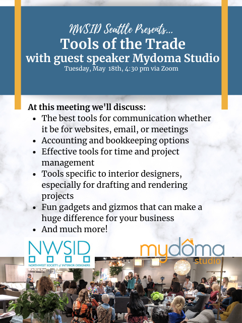 NWSID May Chapter Meeting - Tools of the Trade Hosted by MyDoma Studio @ Zoom/Online